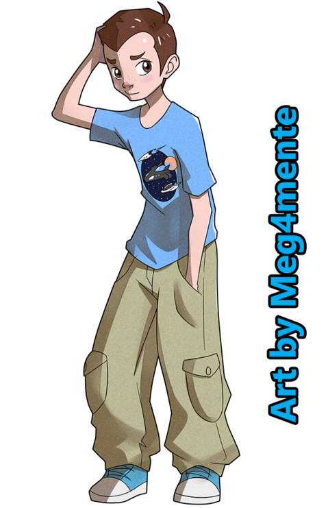 In this image is a teenage boy he wears a blue T-shirt with an image on it and beige cargo pants. He has short brown hair and brown eyes.
